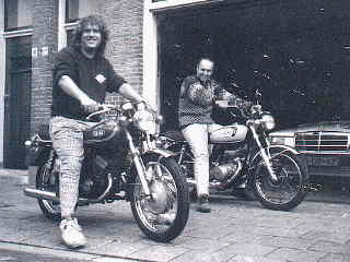 Me on my Yamaha RD 200 and Peter on his Suzuki GT 125